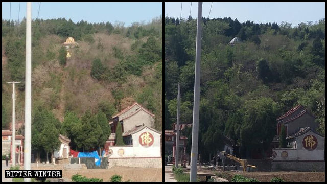 The Buddha statue of Shangzhuang village before and after it was concealed.