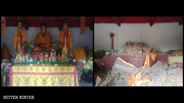 Buddhist statues in Shengquan Temple's Hall of Great Strength before and after being destroyed.