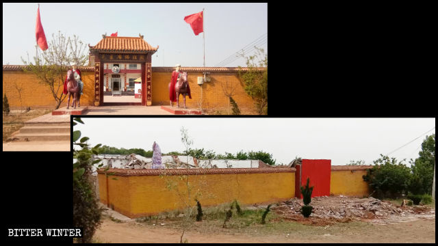 """Chairman Mao Buddha Temple"" before and after the demolition."