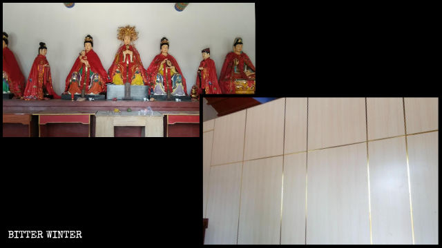 Deity statues inside Bixia Palace were covered with wooden planks.