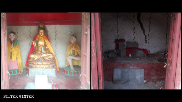 Guanyin statue in Shengquan Temple before and after it was dismantled.