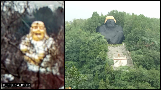 The Maitreya statue in Liuxian Valley before and after it was covered up.