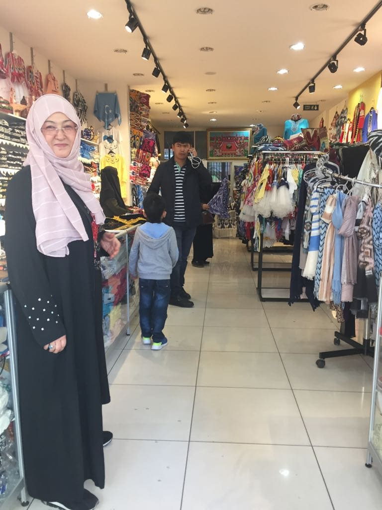 "Mehrigul, a ""widow: herself, manages a shop in Zeytinburnu run by Uyghurs to support ""orphans' and ""widows"" in the community."