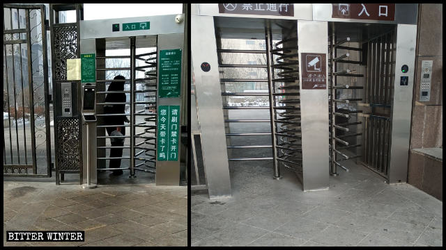 Revolving gates installed at the entrance to residential complexes
