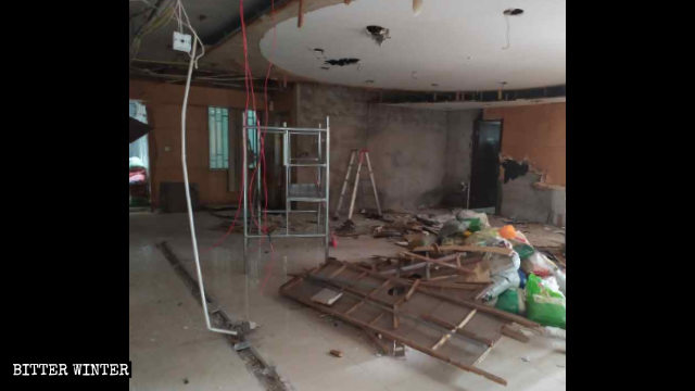 The ceiling and other parts of a hall in the meeting venue were destroyed beyond recognition.