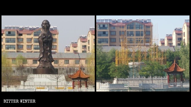 The hybrid statue with the body of Guanyin and the head of Confucius was demolished.