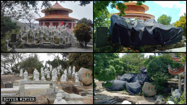 Arhat statues in Dongming Buddhist Temple before and after being covered