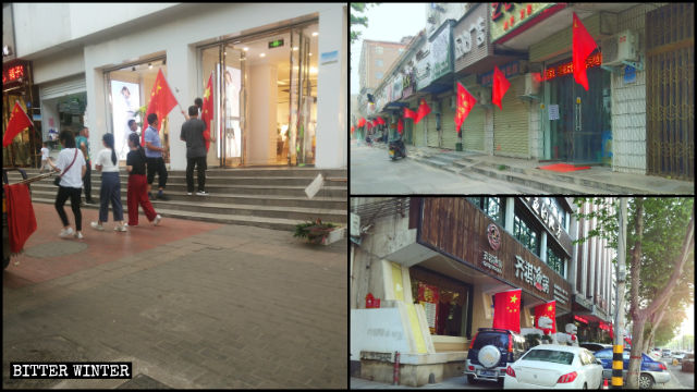 Chinese flags are hanging in front of shops