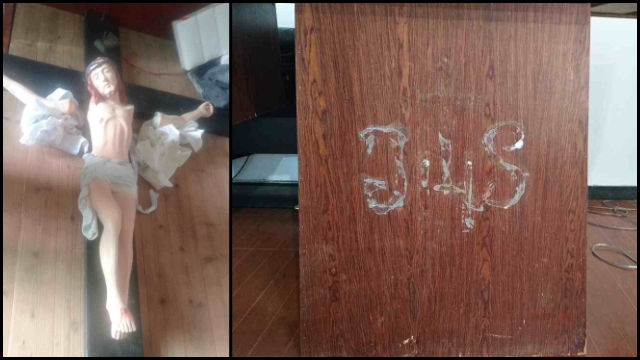 Holy paintings were smashed, the JHS monogram and cross on the front of the altar table were removed.