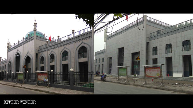 The Islamic architectural elements have been removed from the women's mosque, making it look like an office building.