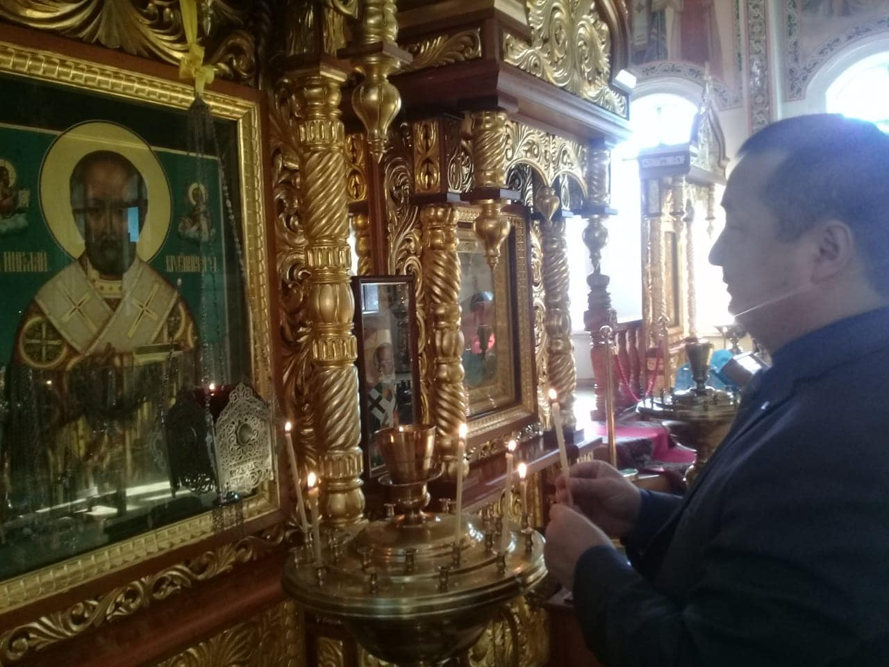 Mr. Serikhzan Bilash, the famous dissident, a Muslim, in an Orthodox church in Almaty, Kazakhstan. An important testimony