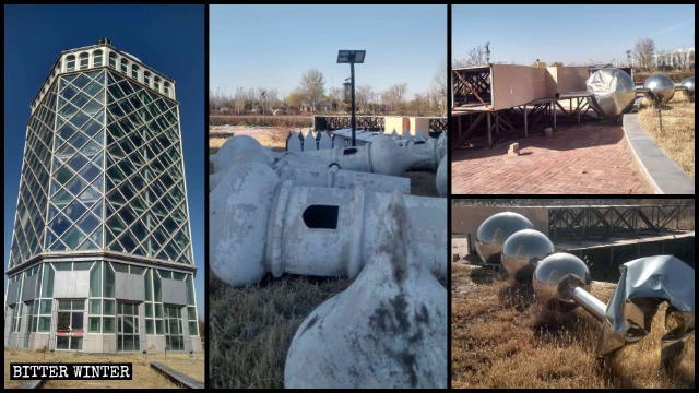 The Islamic symbols at the top of the Popular Science Tower have all been dismantled.