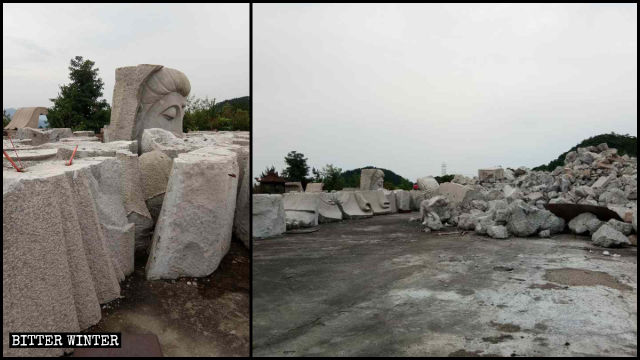 The Guanyin statue has been dismantled into fragments
