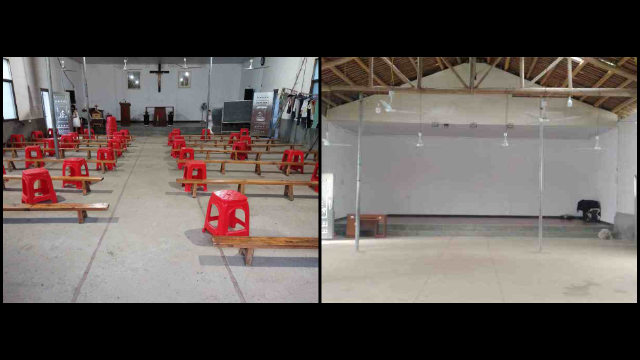 The meeting venue before and after being ransacked.