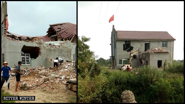 A Three-Self church in Shangrao city was forcibly demolished