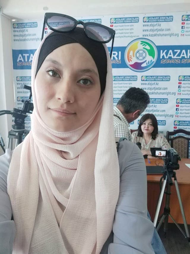 Leila Adilzhan advocating for her husband's release
