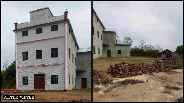"Spires and Chinese characters for ""Christian Church"" of Sanyuan Church were dismantled"